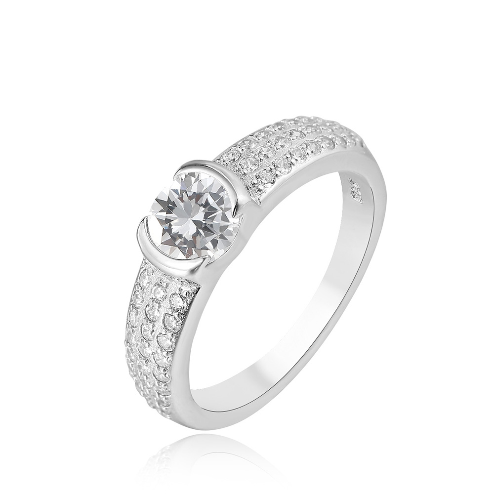 Latest design 925 silver platinum female fast delivery white gold ring