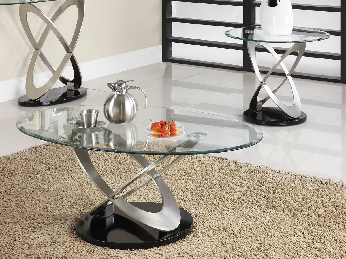 Firth 2 Piece Coffee Table Set by Home Elegance in Chrome
