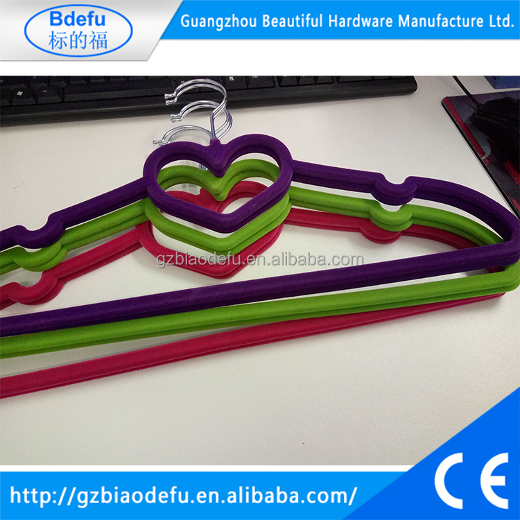Heart-shaped plastic clothes hanger with coloful