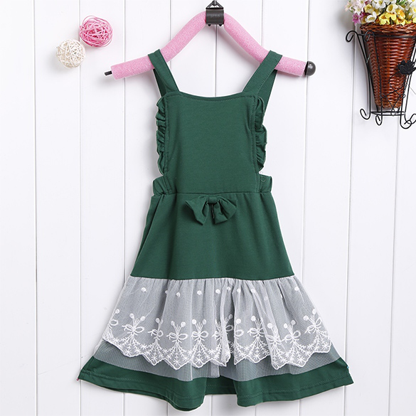 Baby Girl Kids font b Children b font 039 s Wear Sleeveless Lace Bowknot Overalls font