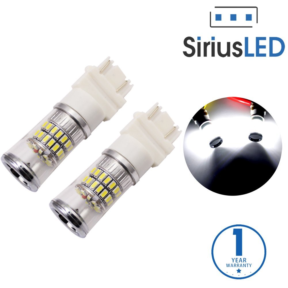 SiriusLED Super Bright 3014 Chip 48 SMD Dual Brightness LED Lights Bulbs for Car Turn Signals Reverse Backup Brake Tail Lights 3157 3157A 3057 3155 3457 4157 Xenon White