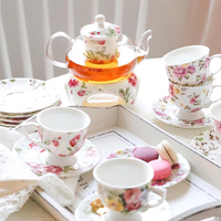 High quality wholesale tea ware colorful floral turkish porcelain tea set with glass tea pot