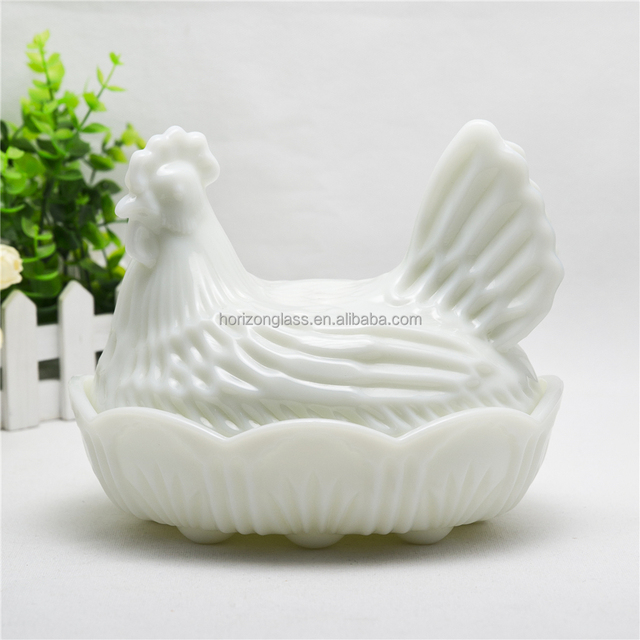 Wholesale Empty Glass Egg Jars Fancy Egg Chicken Shape Decorative Glass Egg Jar