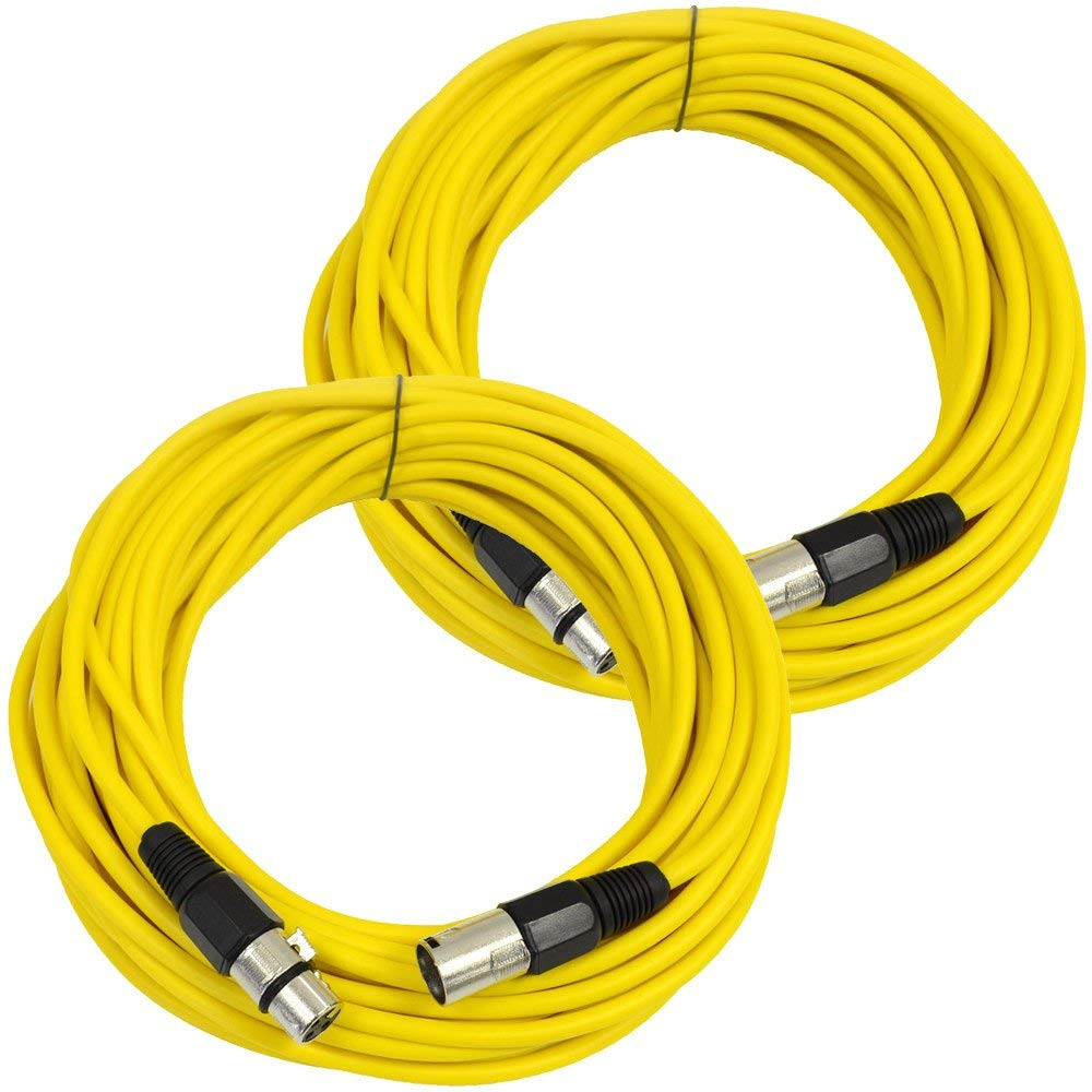 Seismic Audio - SAXLX-50Yellow-2Pack - Pair of Yellow 50 Foot XLR Male to Female Microphone or Patch Cable (2 Pack)