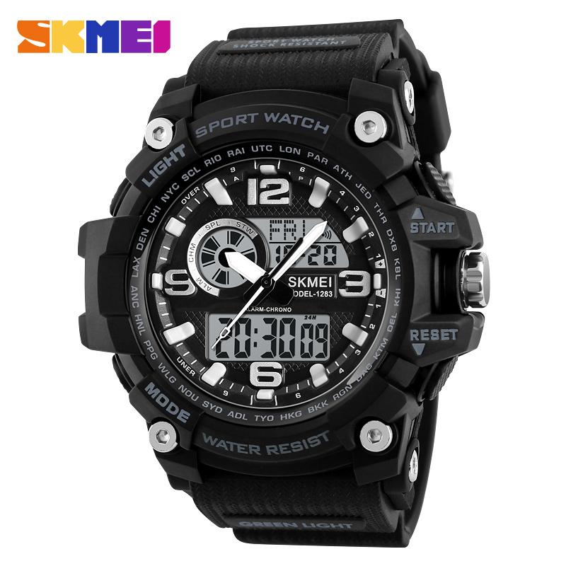 New Skmei 1283 Military Big Dial Men Sports Watches 50m Waterproof Double Time Analog Led Clock Chronograph Quartz Digital Watch