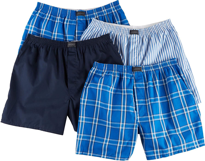 887a3b5c333b Get Quotations · Jockey Mens 4-pk. Active Blend Woven Boxers Medium Blue