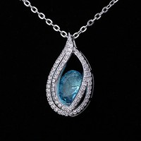 Latest Durable Dancing Stone Pendant Silver Jewelry Necklace Wholesale