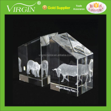 New 3D Laser Engraved Crystal Bookends with Animals Image Etched as Office Desktop Decoration