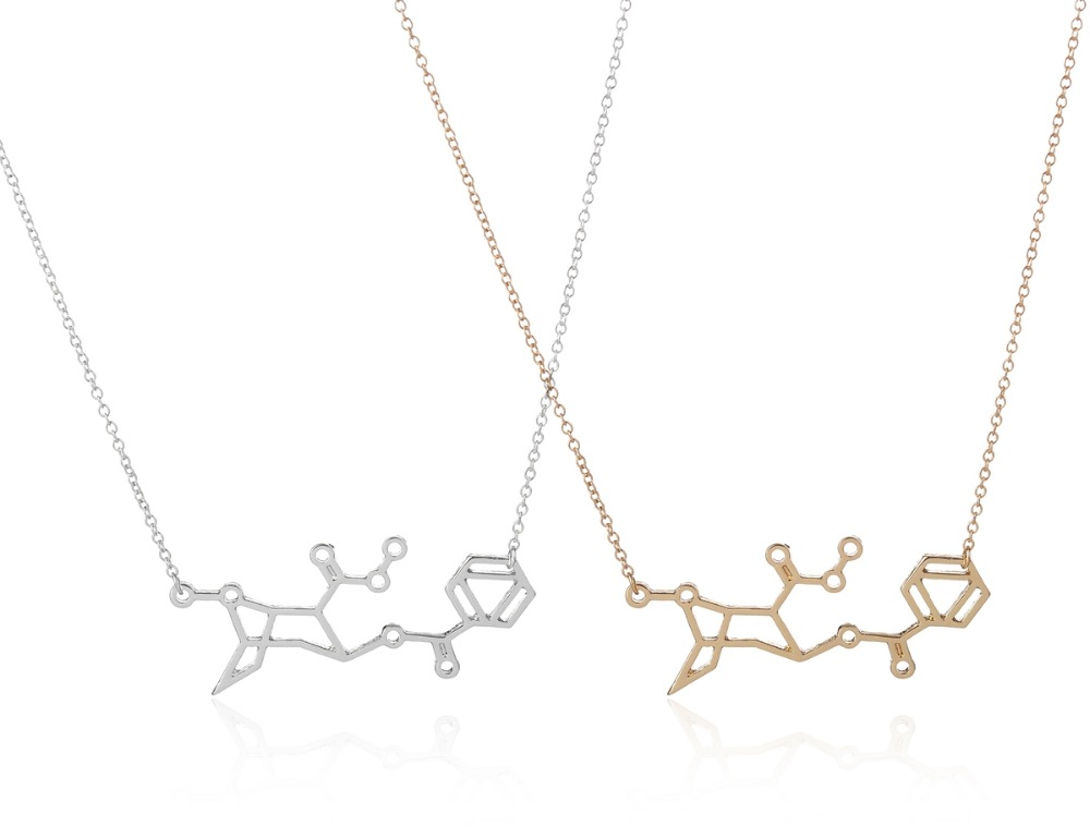 2016 Fashion Gold Cocaine Chemistry Women serotonin necklace xp jewelry gold chain heavy designer pendant