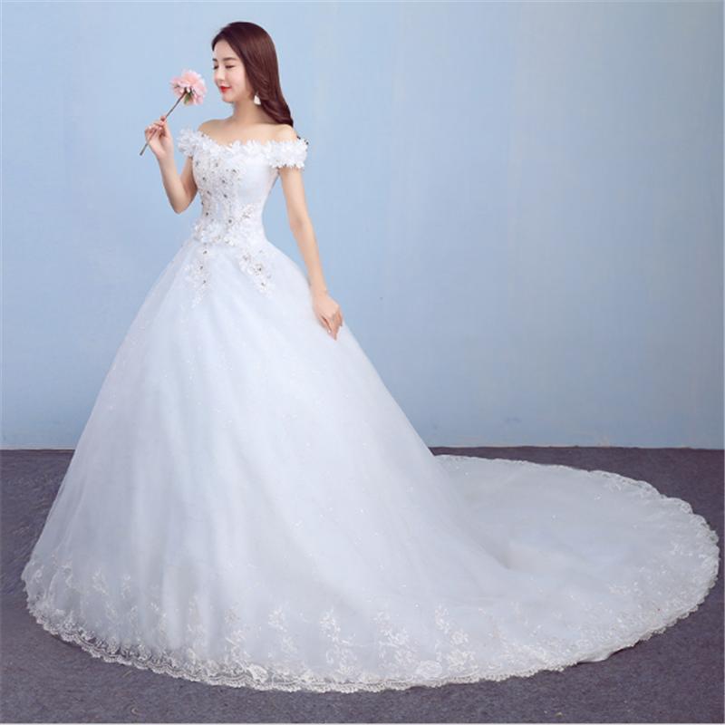f295eeab996a 2020 Newest Vestidos De Novia hemline off shoulder cap sleeves flower  wedding dress bridal gowns with sweep train