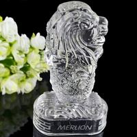 Wholesale Singapore souvenir Crystal merlion glass Merlion trophy for Crystal ornaments gifts