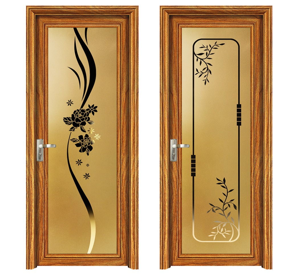 Ouya series wooden color design interior frosted bathroom aluminium glass door