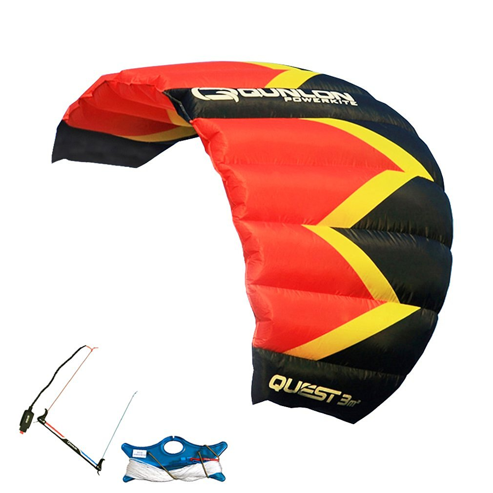 Qunlon 2/3 Sqm QUEST Red/Blue/Green Power Dual Line Parachute Kite / Single Kite with Line and Wrist Strap