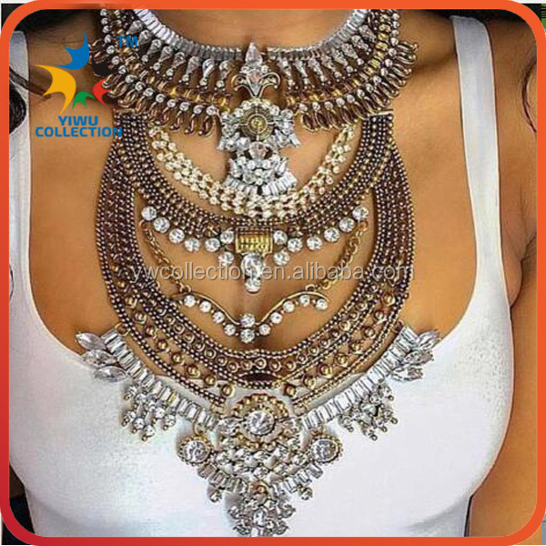Free shipping beaded statement necklace,dropship jewelry,silver chain necklace