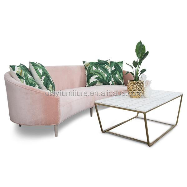 New design living room sofa furniture, event rental french provincial sofa pink blush sofa