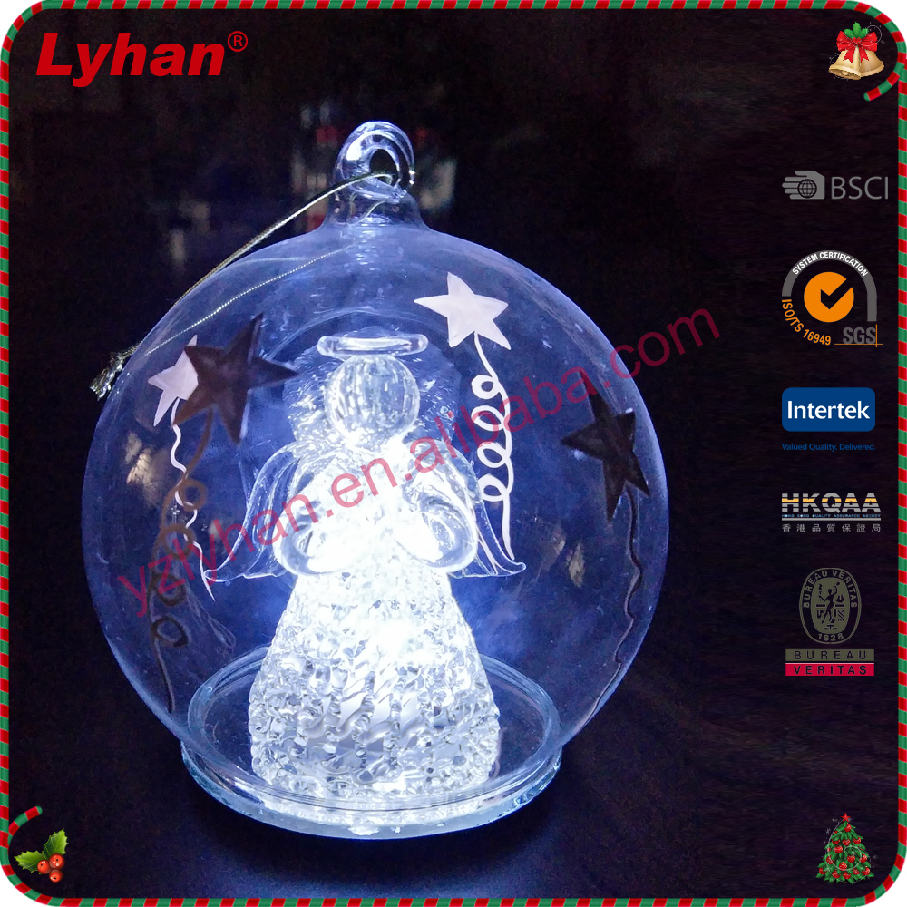 hot sale LED transparent glass ball lampworking figure inside for Christmas occasion ornaments