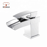 USA Single Lever Bath Vessel Faucet Waterfall, Black Hot and Cold Bathroom Sink Faucet Waterfall with LED Light