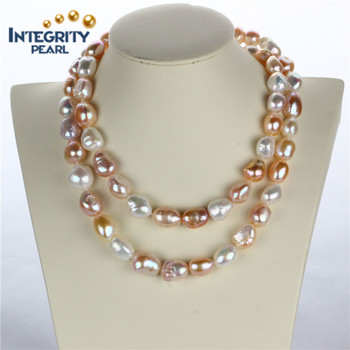 11 12mm Aa Grade Long Baroque Necklace Modern Pearl