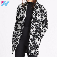 YIHAO Spring Autumn New Black White Spot Print No Zipper Basic Coat Women Casual Long Sleeve Slim Bomber Outwear Jackets