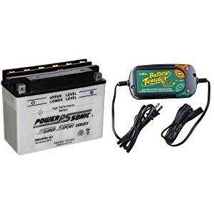 Power-Sonic C50-N18L-A3 Conventional Powersport Battery and Battery Tender 022-0185G-dl-wh Black 12 Volt 1.25 Amp Plus Battery Charger/Maintainer Bundle