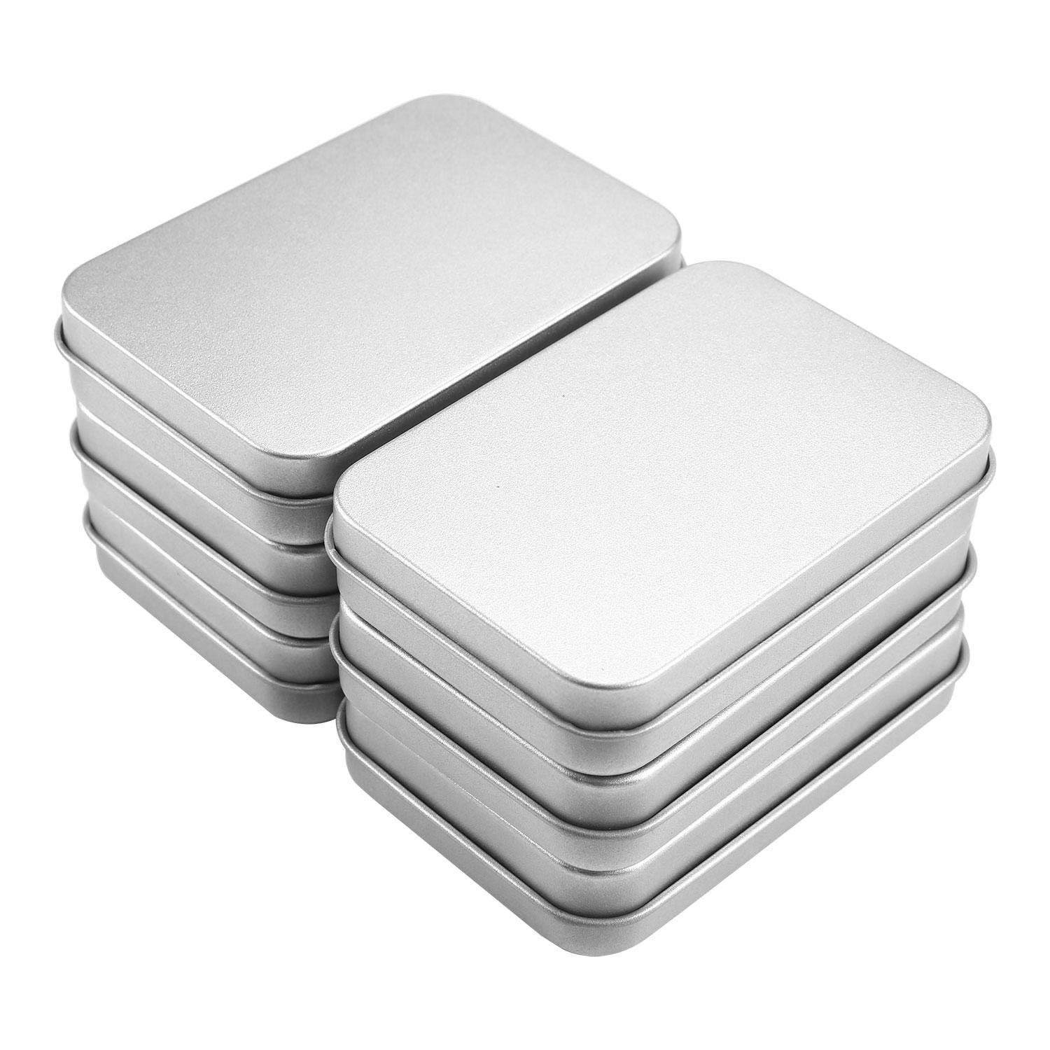 Aolvo Silver Metal Frosted Rectangular Box Empty Hinged Tins Box Containers with Lids Basic Necessities Mini Portable Case Small Storage Kit Tin Holders Set, 3.75x2.45x0.8 Inch,6pcs