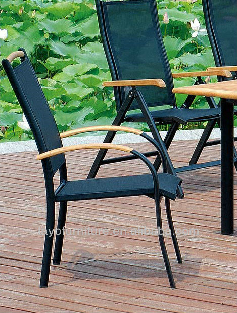 Alum Frame With Teak Wood Armrest Sling Fabric Stacking Wood Chair