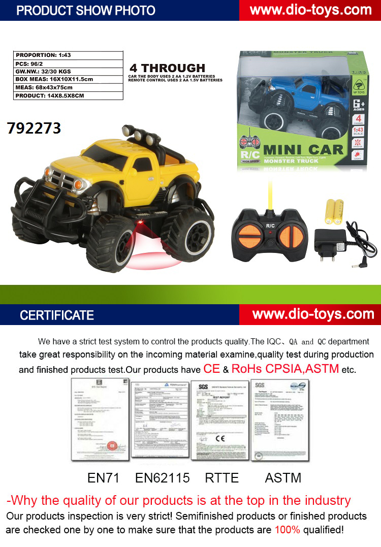 best quality mini simulation rc remote control off road toy 1/43 model car
