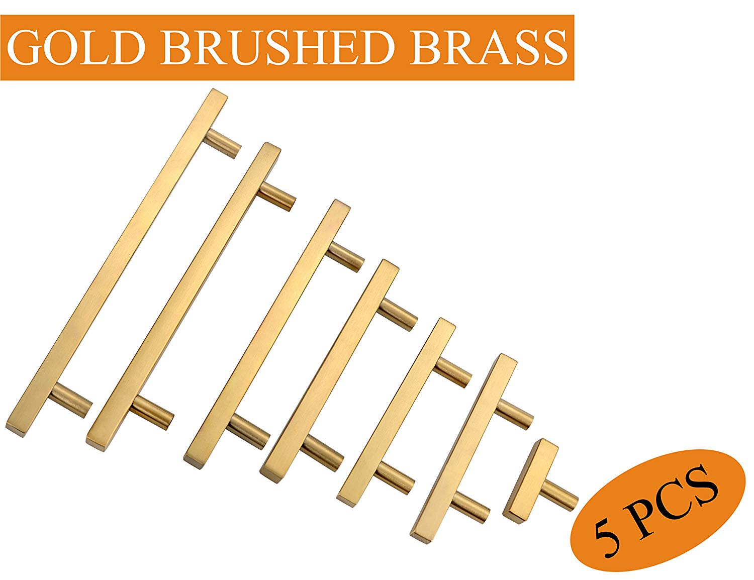 """Gold Kitchen Cabinet Handles:Hole Center 3""""Square Gold Furniture Pulls and Handles,Euro Style Bar Handle Pull Total Length 5inch Dresser Handles and knob 5 Pack,YTHD1212GD76-5PAMZ"""