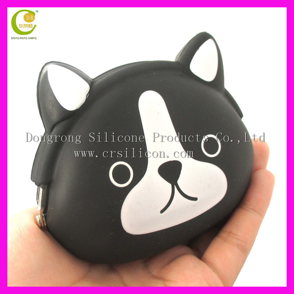 2017 colorful silicone wallet black cat face coin bag animal shape 3d cartoon coin purse wholesale
