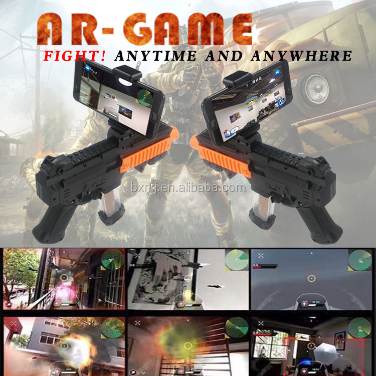Latest bluetooth shooting game player AR game toy gun diy plastic electronic 3D ar game gun