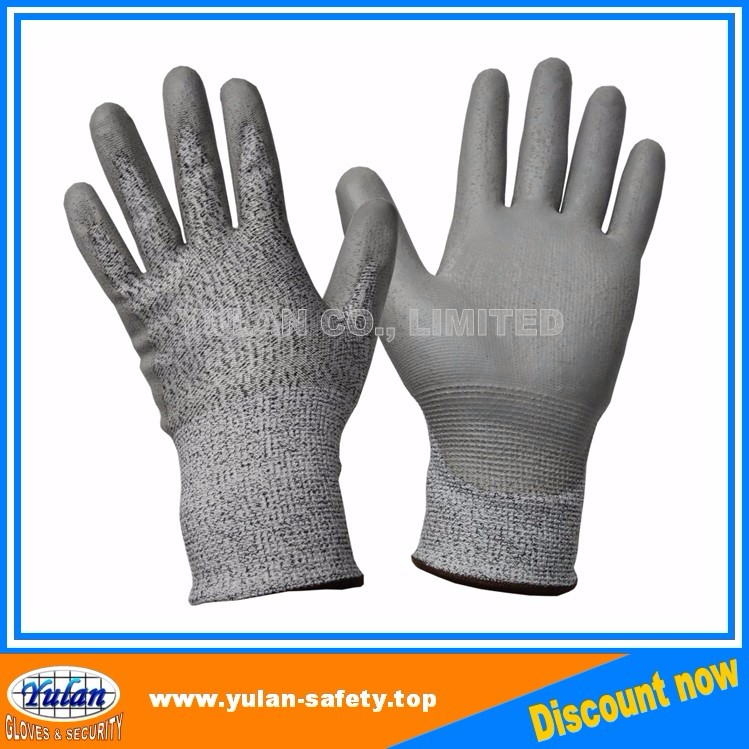 Hppe Pu Coated Working Safety Cut Resistant Gloves,En388 En420 ...
