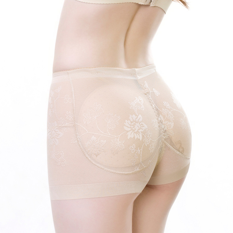 0c9b38355 Plus Size Middle Waist Hip Enhancer Shaper Underwear Silicone Buttocks Sexy  Lace Women Padded Panty