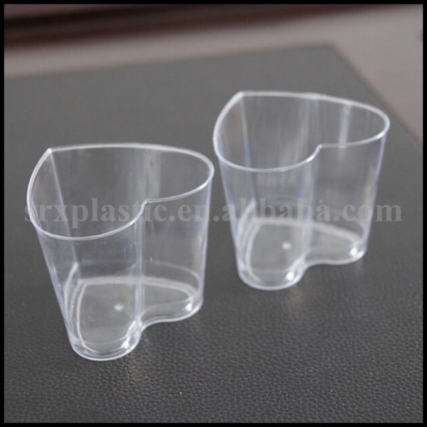 disposable heart shape dessert cup with lid manufacturer/OEM plastic custom print Hot heart shape Disposable Plastic Dessert Cup
