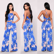 quality womens fashion Clothes Floral Crop Top And Wide Leg Pants two piece sets