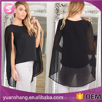 Long Sleeve Latest Top Designs For Women Sexy Blouse In Black ...
