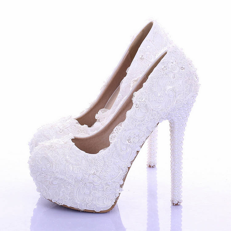 White lace wedding shoes ultra high heels platform shoes ...