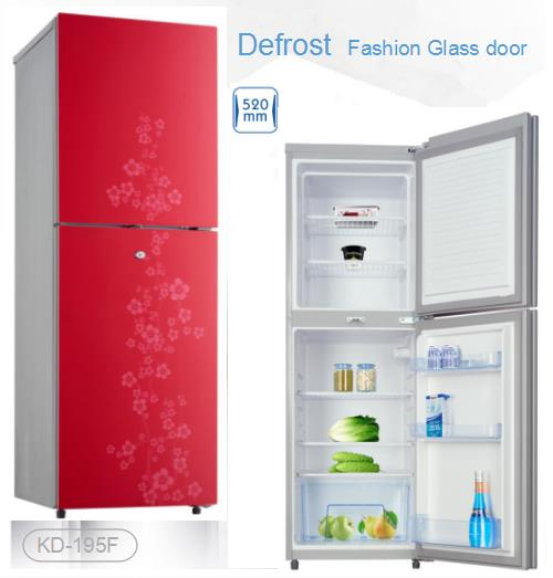 195L 520mm Width Defrost Fashion Flower Glass Door Counter Top Twin Refrigerator and Freezer with Lock and Key Optional