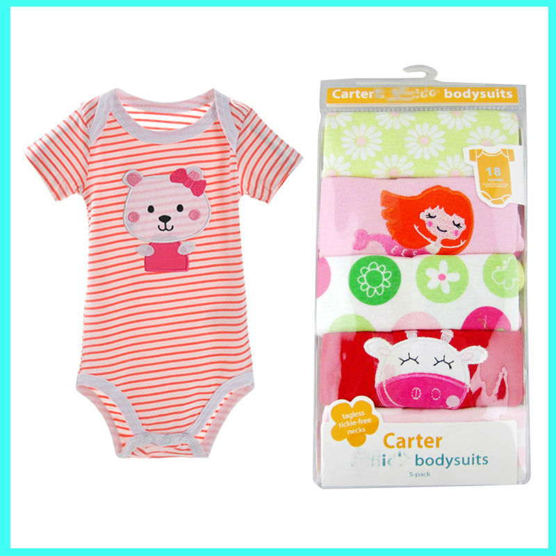 Wholesale 5 Pack Carter Short Bodysuit Adorable Baby Clothes Rompers