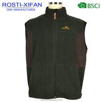 Men Outdoor Wear Dark Green Hunting Fleece Vest with Zipper