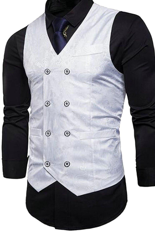 X-Future Mens V-Neck Double Breasted Casual Vest Waistcoat Business Dress Suit Vest