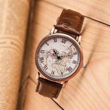 Promotional vintage fashion leather world map watch