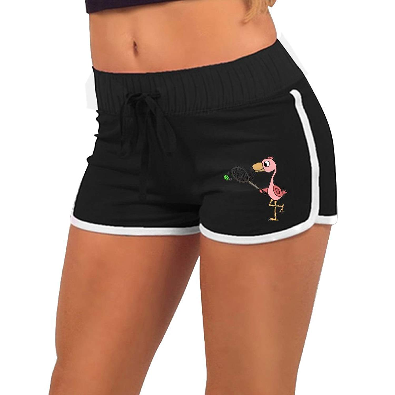 caa6a8dc13ca2 Get Quotations · HUANGLING Funny Pink Flamingo Playing Tennis Women's  Summer Casual Hot Pants