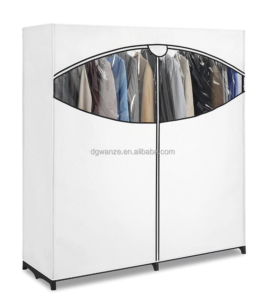 white Extra Wide Portable Clothes Closet Polyester Wardrobe with pvc window