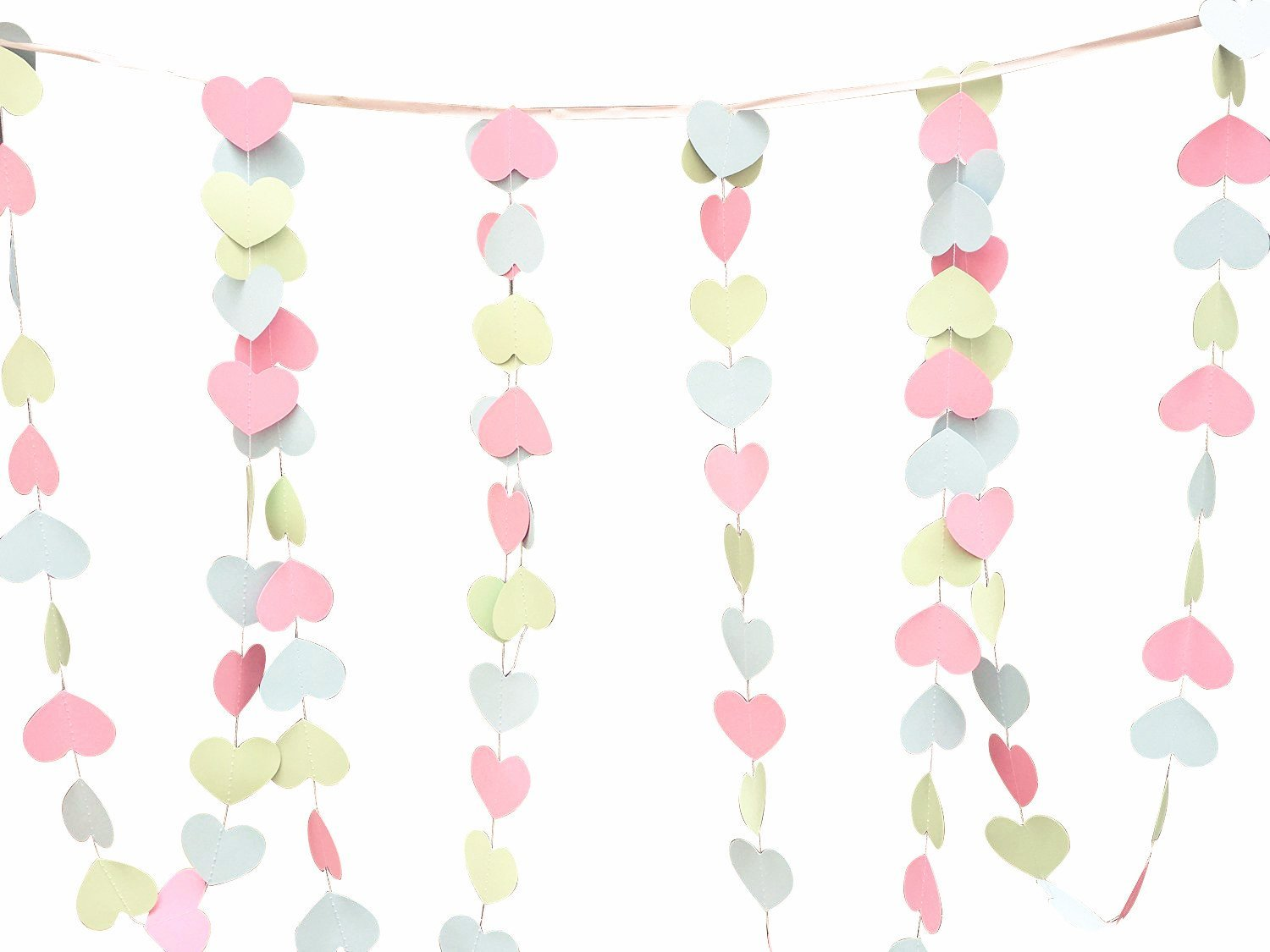 Pack of 4pcs 10-feet Long Paper Sweet Heart Shaped Hanging Decoration String Paper Garland Wedding Birthday Party Baby Shower Background Decorative Color Pink Blue Mint