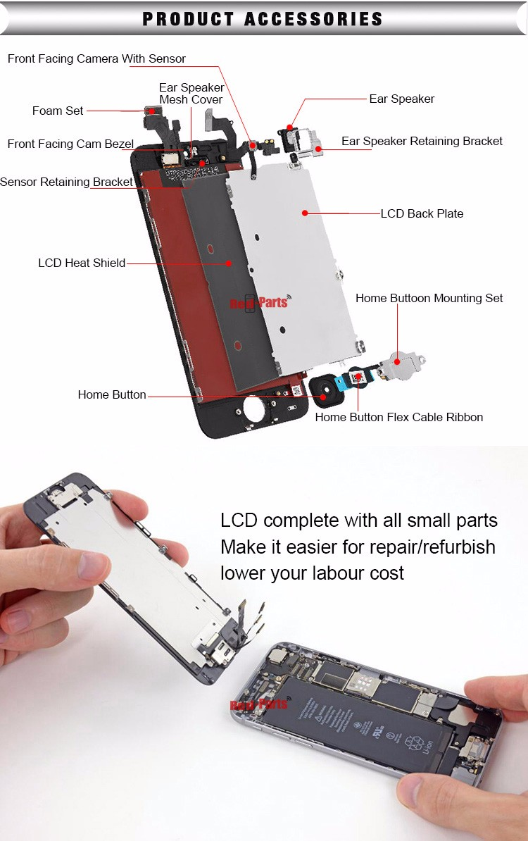 Factory price 10pcs/lot wholesale LCD screen and digitizer assembly for iPhone 6s