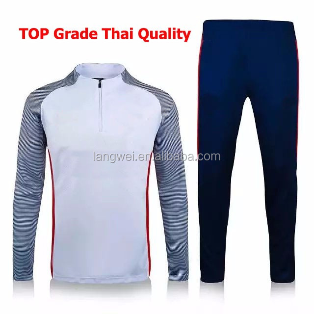 top thailand blank long-sleeve tracksuits football wholesale