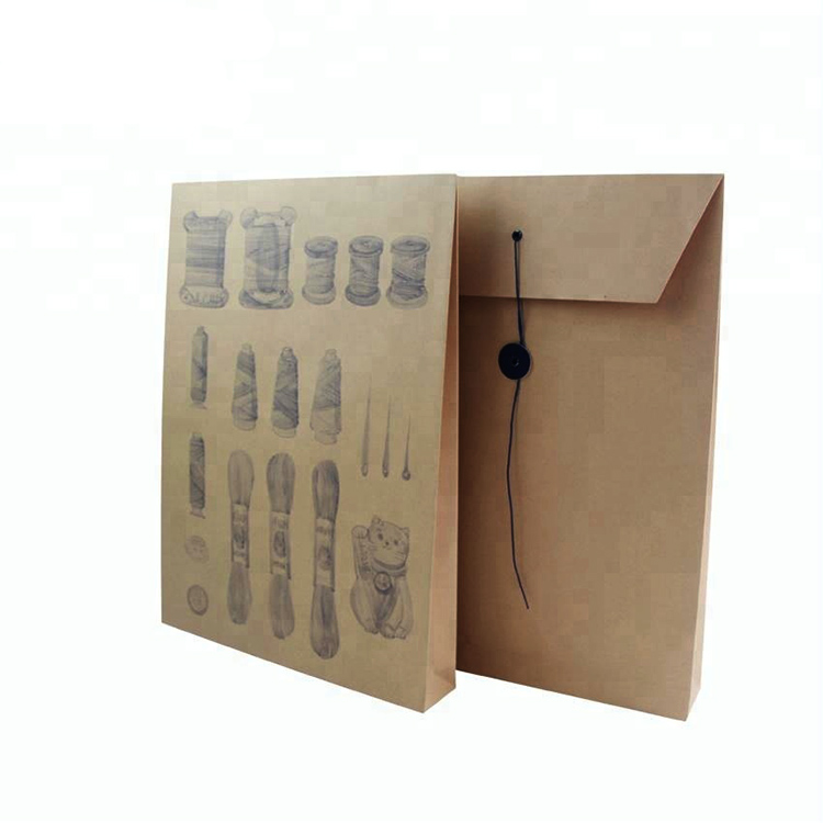 Custom design recycle t shirt kraft paper envelope with string