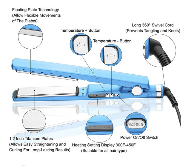 wholesale Hot selling titanium PTC hair straightener flat iron