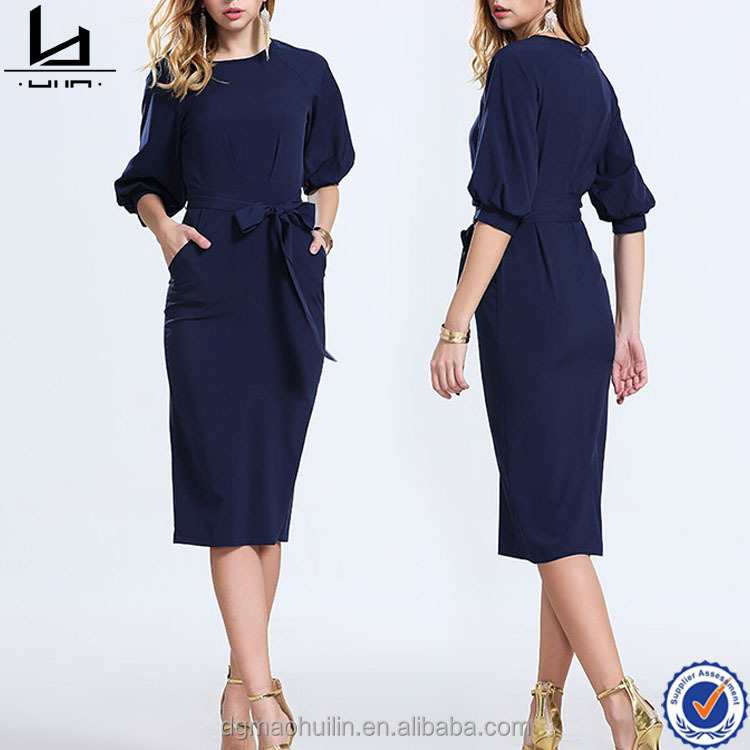 chinese supplier lantern sleeve blue pencil dress crew neck chiffon with belt women dresses