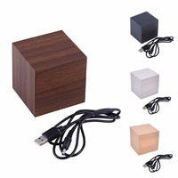 Zogifts New Arrival Hot Sales Modern Square Colorful Wooden Bamboo Digital Single Face Thermometer Led Alarm Clock